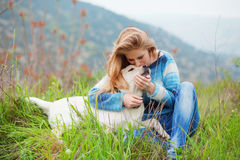 Girl With Her Dog Royalty Free Stock Photos
