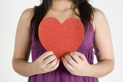Girl With Her Heart Royalty Free Stock Photos