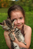Girl With Her Kitty Stock Photo