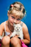Girl With Kitten Royalty Free Stock Photos