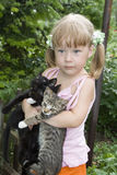 Girl With Kittens Stock Photo