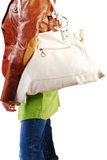 Girl With Leather Handbag Stock Images