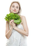 Girl With Lettuce Stock Photos
