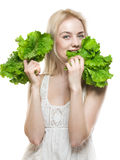 Girl With Lettuce Stock Photography