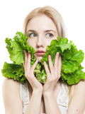Girl With Lettuce Royalty Free Stock Photography