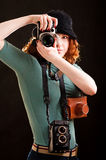 Girl With Many Cameras Royalty Free Stock Photo