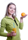 Girl With Orange Juice And Orange In His Hand Stock Image