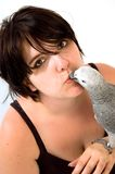 Girl With Parrot Stock Image