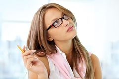 Free Girl With Pencil Royalty Free Stock Photos - 32047798
