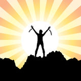 Girl With Raised Hands And Broken Chains Royalty Free Stock Photo