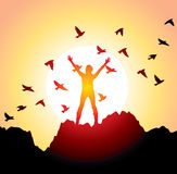 Girl With Raised Hands And Flying Birds Royalty Free Stock Image