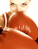 Girl With Red Boxing Gloves Royalty Free Stock Photography