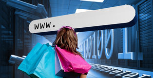 Free Girl With Shopping Bags Looking At Address Bar Stock Photos - 31010173