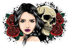 Girl With Skeleton Make Up Hand Drawn Vector Sketch. Santa Muerte Woman Witch Portrait Stock Illustration Day Of The Stock Photo