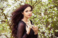 Girl With Spring Blossom Tree Stock Photography