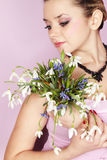 Girl With The Bouquet Royalty Free Stock Photo