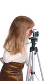 Girl With The Photo Camera On White Stock Photo