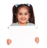Girl With White Board Stock Images