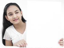 Girl With White Placard Royalty Free Stock Images