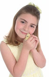 Girl With Yellow Chick Stock Images