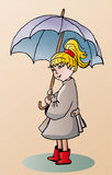 Girl witn umbrella. Vector illustration of funny girl in rain coat walking with umbrella Stock Photo