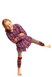 Girl wobbles on its feet. Young Girl wobbles on its feet stock photos