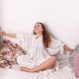 Girl woke up Stock Image