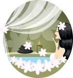Girl or woman. Relaxing in bath with flowers Stock Photos