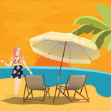 Girl woman in beach seaside waiting for sunset with chair and umbrella relax enjoy holiday Royalty Free Stock Photography