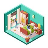 Girl or woman bedroom vector illustration of isometric room cross section. Woman bedroom isometric vector illustration of modern small room interior with Royalty Free Stock Photos