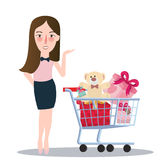 Girl woman buying purchase presents toy doll push trolley cart. Vector Stock Photos