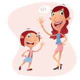 Girl and woman cartoon character illustration Royalty Free Stock Images