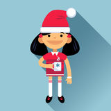 Girl, woman character in New Year costume on a blue background. Marry Christmas. Vector flat cartoon illustration Vector Illustration