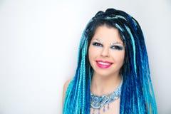Woman long blue hair stock photo