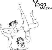 Girl and woman doing yoga poses,  vector illustration Royalty Free Stock Images