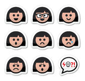 Girl or woman faces, avatar  icons set. Collection of female faces - happy, sad, angry labels set isolated on white Stock Images