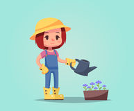 Girl woman happy cartoon gardener with watering can flower pot  illustration Royalty Free Stock Photo