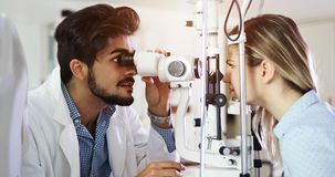 Free Girl Woman In Ophthalmology Clinic For Diopter Detection Stock Image - 105404271