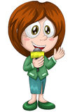 Girl woman journalist microphone character cartoon style  Royalty Free Stock Photography