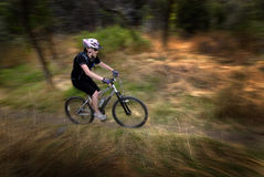 Girl Woman Mountain Biking stock photo