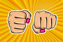 Girl woman power fist pop art style. Woman fist - Girl power strong vector illustration. Cartoon pop art style halftone background. Female rights industry Royalty Free Stock Photo