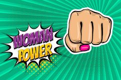 Girl woman power fist pop art style. Woman fist - Girl power strong vector illustration. Cartoon pop art style halftone background. Female rights industry Royalty Free Stock Photography