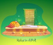Girl or woman relaxing, lying at spa salon Stock Photography