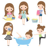 Girl Woman Routine Lifestyle. Vector illustration of girl or woman's lifestyle including shopping, working, studying, doing laundry, doing yoga, pampering Royalty Free Stock Photography