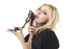 Girl woman shop shopper with shoe Stock Photography