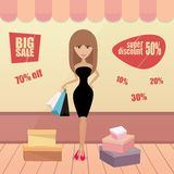 Girl or woman on shopping sale hold bags. Retro Royalty Free Stock Image