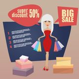 Girl or woman on shopping sale holding bags. Retro Royalty Free Stock Image