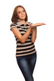 Girl woman showing open hand hol Stock Image