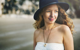 Girl Woman Smiling Relax Happy Concept Royalty Free Stock Photos