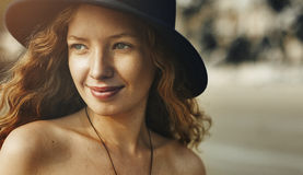 Girl Woman Smiling Relax Happy Concept Royalty Free Stock Photo